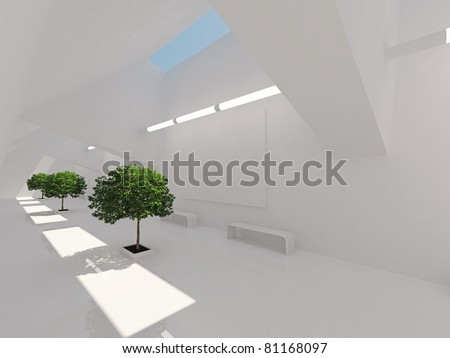 Modern long corridor with billboard