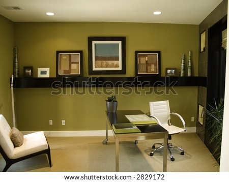 Modern looking home office - stock photo