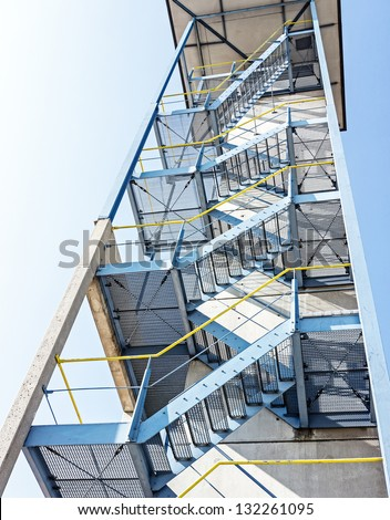 modern lookout tower - low angle view - stock photo