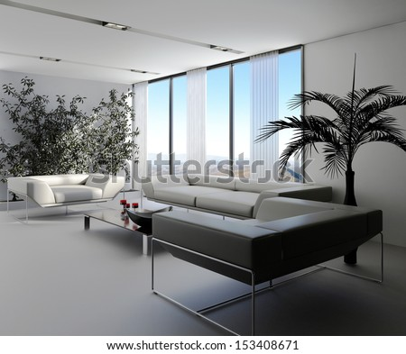 Modern lounge interior with white sofas and ivy wall - stock photo