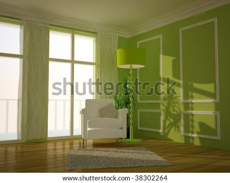 Modern lounge room painted green - stock photo