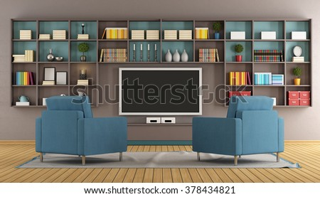 Modern lounge with wall unit,television and two blue armchair - 3D Rendering - stock photo