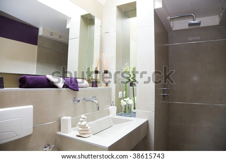 Modern Luxurious bathroom - stock photo