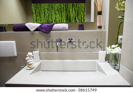 Modern Luxurious bathroom (bamboo image it's also mine) - stock photo