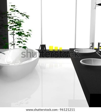 Modern luxurious bathroom with contemporary design and furniture, colored in black and white, 3d rendering. - stock photo