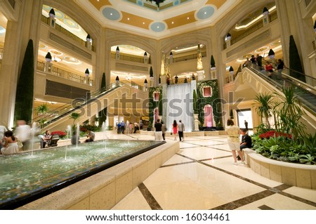 Modern, luxurious shopping mall.