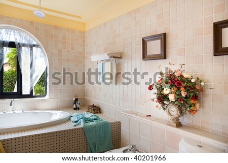 Modern luxury bathroom in a new house - stock photo