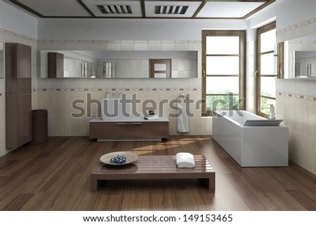 Modern luxury bathroom interior with design bathtub and bench - stock photo