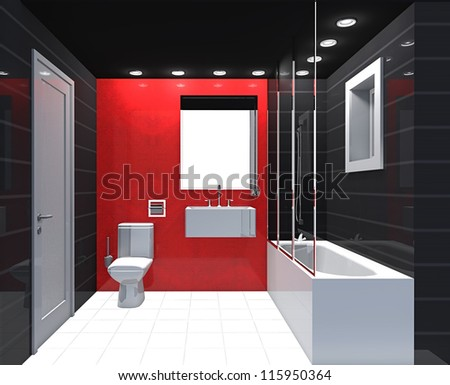 Bathroom Red modern luxury bathroom red black white stock illustration