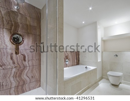 modern luxury bathroom with brown marble elements