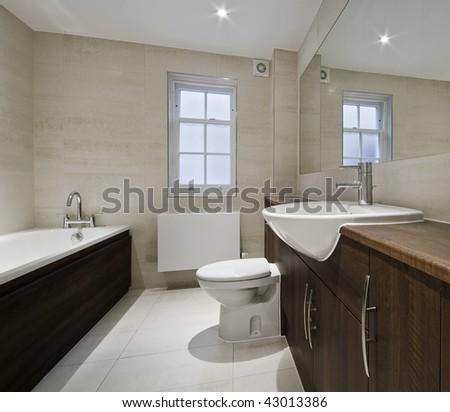 modern luxury bathroom with hard wood elements - stock photo