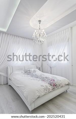 Modern luxury bedroom  /  Luxury Hotel Room - stock photo