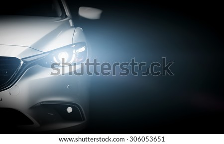 Modern luxury car close-up banner background. Concept of expensive, sports auto. - stock photo