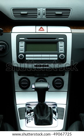 Modern luxury car interior - stock photo