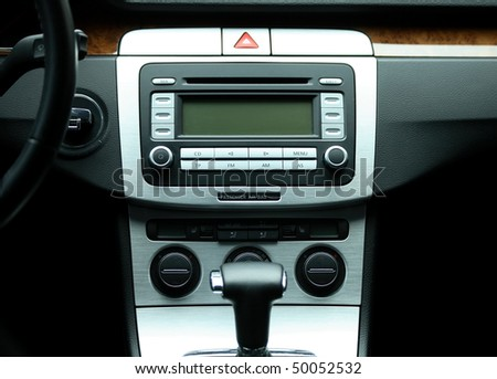 Modern luxury car interior, horizontal - stock photo