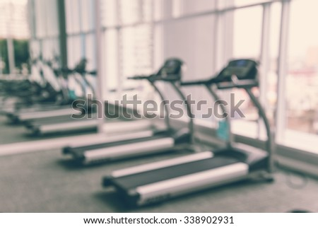 Modern luxury fitness training center city view abstract blur background