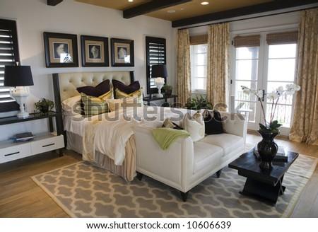 Modern luxury home bedroom. - stock photo