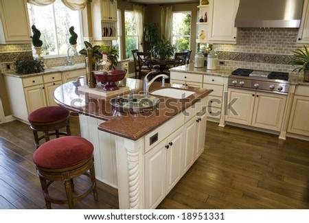 Modern luxury home kitchen. - stock photo