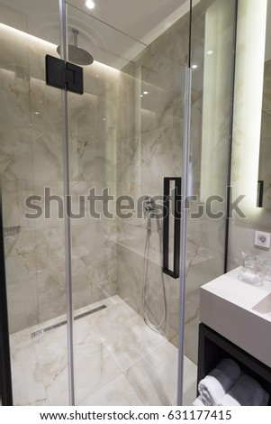 Several Showers Seperated Walls Glass Wall Stock Photo