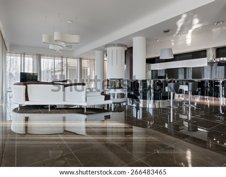 Modern luxury interior in minimalistic style: living room and kitchen in daylight - stock photo