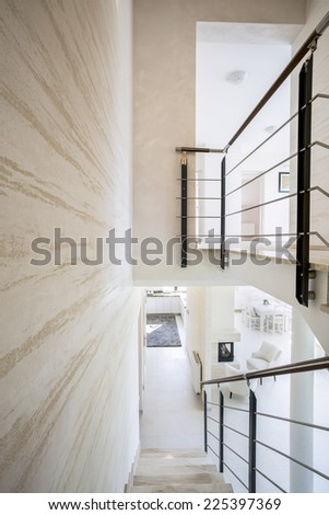 Modern luxury interior with bright marble stairs - stock photo