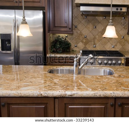 Modern luxury kitchen - stock photo