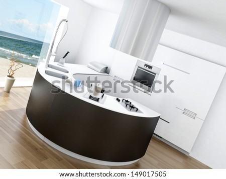 Modern luxury kitchen interior with fantastic seascape view - stock photo
