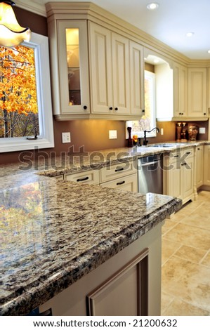 Modern Luxury Kitchen Interior Granite Countertop Stock Photo Custom Modern Luxury Kitchen With Granite Countertop