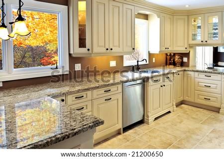 Modern luxury kitchen interior with granite countertop - stock photo