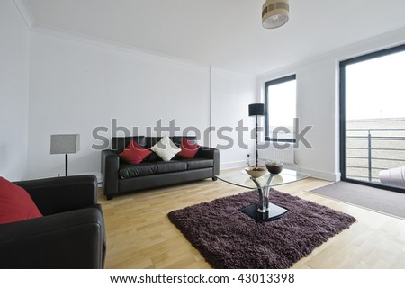 modern luxury living room furnished and decorated - stock photo