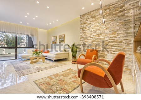 Modern Luxury Living Room - Home Styling - stock photo