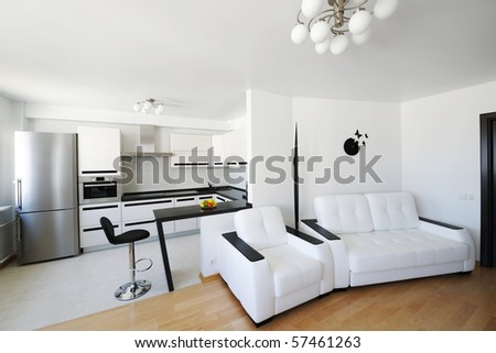 Modern luxury living room interior. No brandnames or copyright objects.