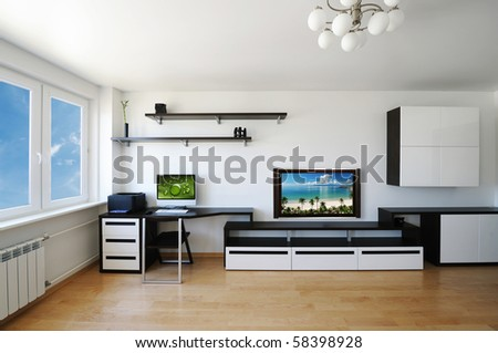 Modern luxury living room interior. No brandnames or copyright objects. - stock photo