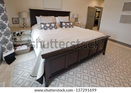 Modern luxury  master bedroom. Interior design. - stock photo