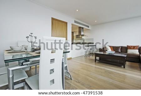 modern luxury open plan apartment with designer furniture - stock photo
