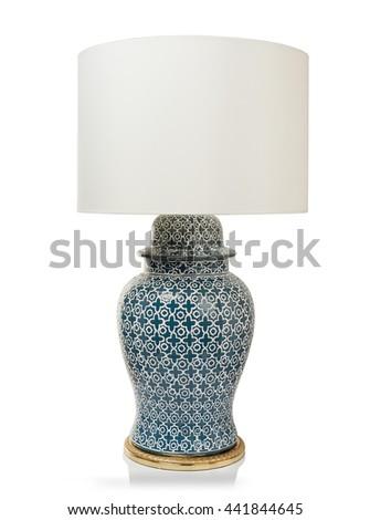 Modern luxury table lamp isolated on white background - stock photo