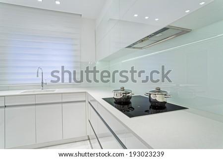 Modern Luxury White  kitchen   - stock photo