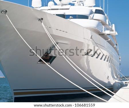 modern luxury yacht in dock - stock photo