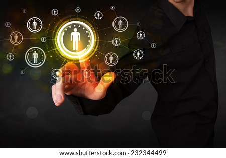 Modern man touching future technology social network button  - stock photo
