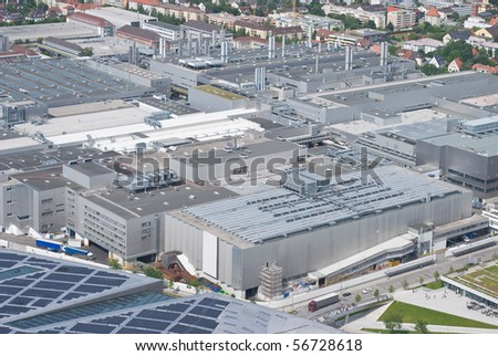 Modern  Manufacturing Architecture as Symbol of Corporate Identity - stock photo