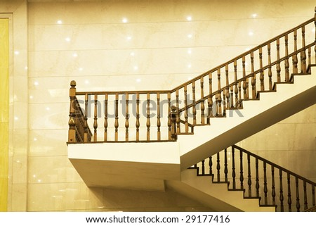 Modern Marble Stairs in hotel - stock photo