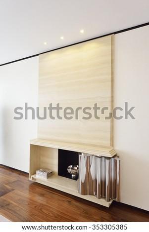 Modern marble stove - stock photo