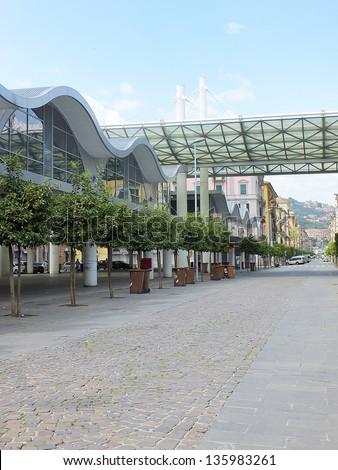 modern market building in la spezia - stock photo