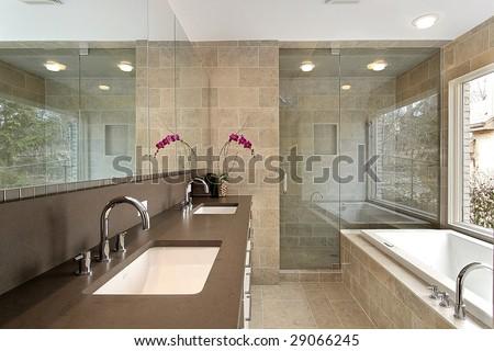 Modern master bath - stock photo