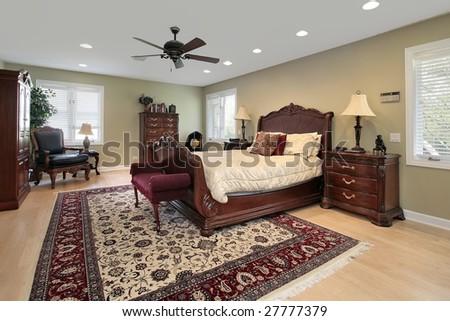 Modern master bedroom - stock photo