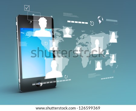 Modern media touch screen technology, smartphone connecting information to the world concept.Stand up version. Photo realistic 3d image scene - stock photo