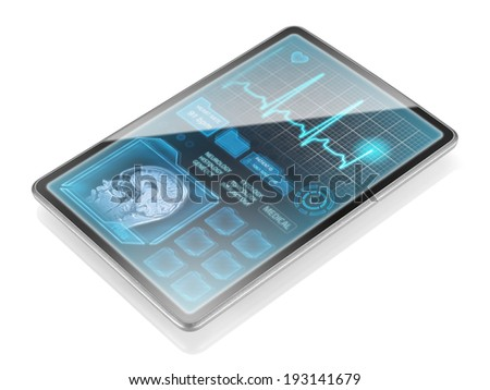 Modern medical tablet isolated on white background - stock photo