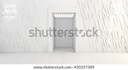 Modern metal elevator with open doors, Hall Interior 3D illustration - stock photo