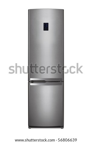 Modern metal refrigerator on white background - stock photo
