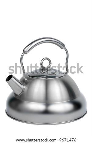 Modern metal teapot on a white background - stock photo